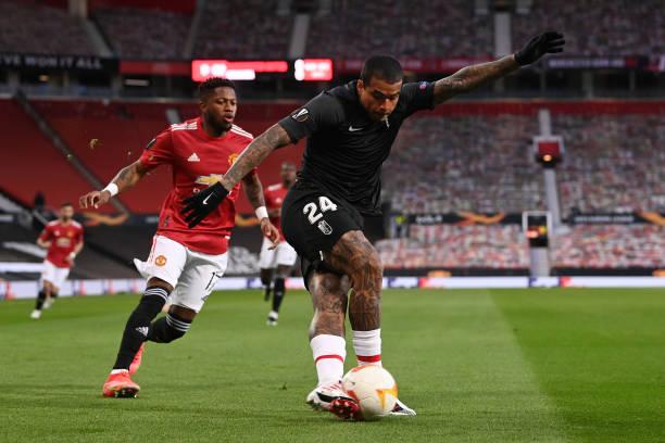 Kenedy of Granada CF performs a rabona kick during the UEFA Europa League Quarter Final Second Leg match between Manchester United and Granada CF at...