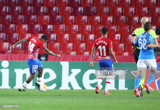 Kenedy of Granada CF scores their sides second goal during the UEFA Europa League Round of 32 match between Granada CF and SSC Napoli at Nuevo...