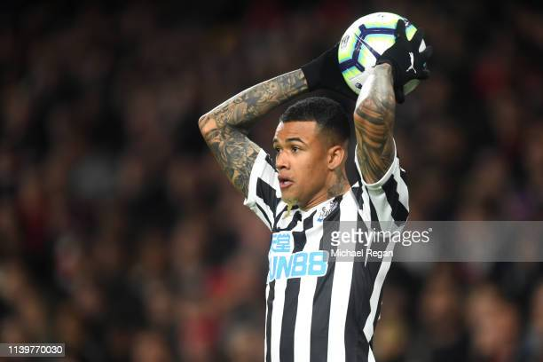 Kenedy of Newcastle in action during the Premier League match between Arsenal FC and Newcastle United at Emirates Stadium on April 01 2019 in London...