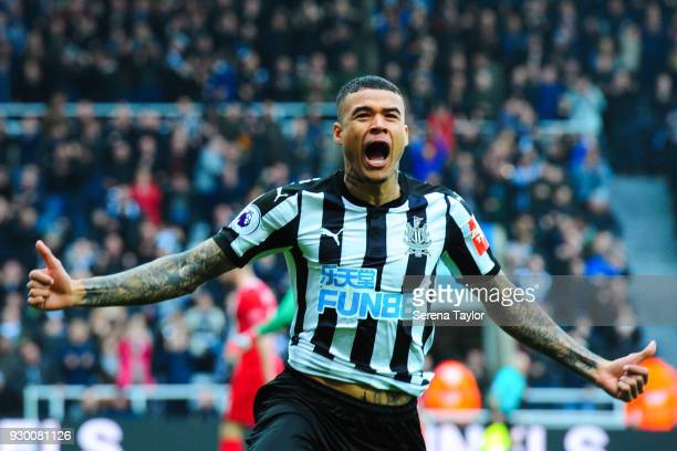 Kenedy of Newcastle United celebrates after he scores the opening goal during the Premier League match between Newcastle United and Southampton at...