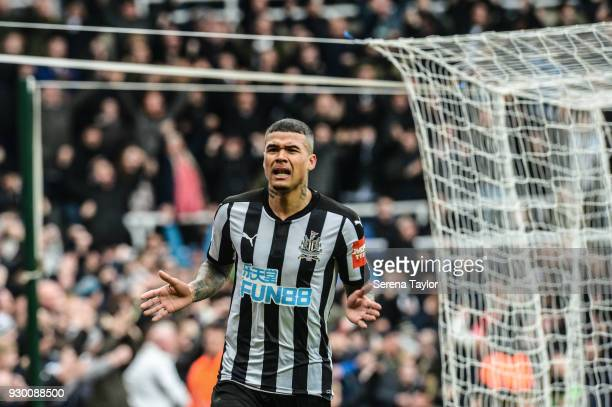 Kenedy of Newcastle United celebrates after scores his second goal during the Premier League match between Newcastle United and Southampton at...