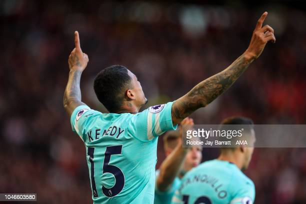 Kenedy of Newcastle United celebrates after scoring a goal to make it 01 during the Premier League match between Manchester United and Newcastle...