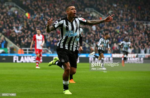 Kenedy of Newcastle United celebrates after scoring his sides first goal during the Premier League match between Newcastle United and Southampton at...