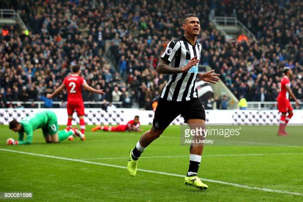 Kenedy of Newcastle United celebrates after scoring his sides second goal during the Premier League match between Newcastle United and Southampton at...