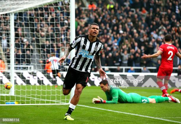 Kenedy of Newcastle United celebrates scoring his side's second goal during the Premier League match between Newcastle United and Southampton at St...