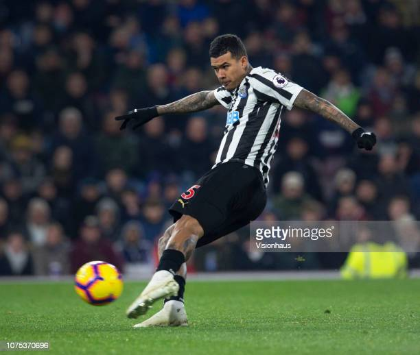 Kenedy of Newcastle United in action during the Premier League match between Burnley FC and Newcastle United at Turf Moor on November 26 2018 in...