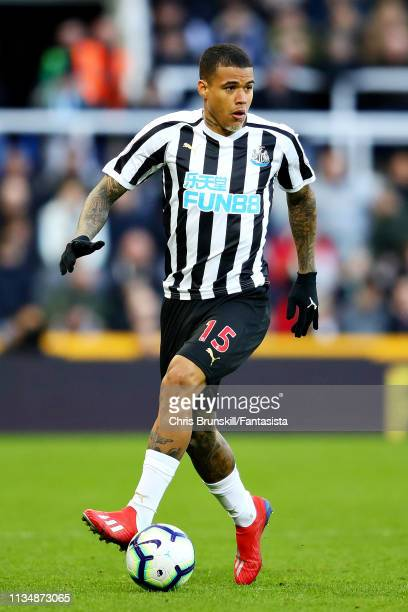 Kenedy of Newcastle United in action during the Premier League match between Newcastle United and Everton FC at St James Park on March 09 2019 in...