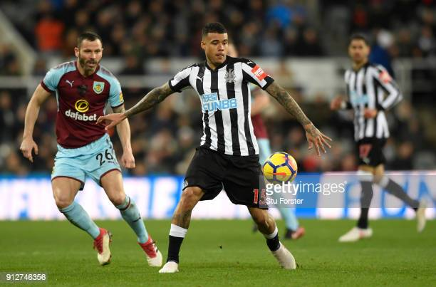 Kenedy of Newcastle United runs with the ball during the Premier League match between Newcastle United and Burnley at St James Park on January 31...