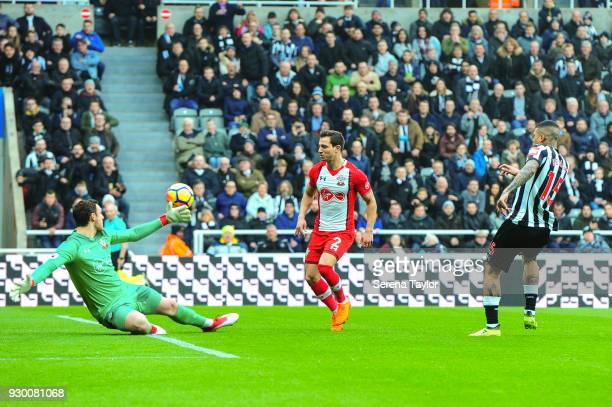 Kenedy of Newcastle United scores the opening goal during the Premier League match between Newcastle United and Southampton at StJames' Park on March...