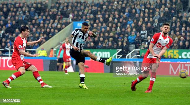 Kenedy of Newcastle United shoots and misses during the Premier League match between Newcastle United and Southampton at St James Park on March 10...