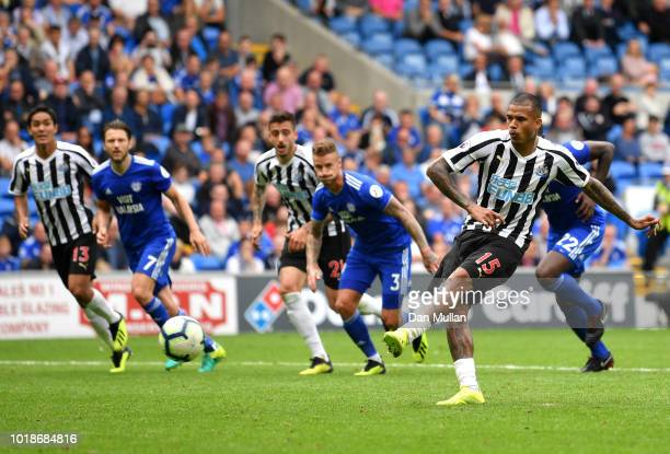 Kenedy of Newcastle United takes a penalty and misses during the Premier League match between Cardiff City and Newcastle United at Cardiff City...