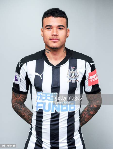 Kenedy poses for a photo wearing a Newcastle home shirt during a Press Conference at StJames' Park on January 29 in Newcastle England