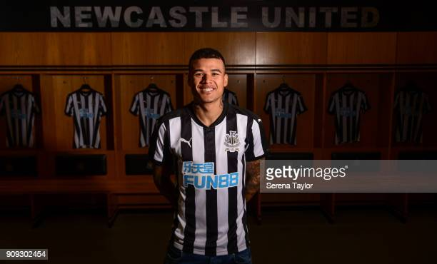 Kenedy poses for photographs in the home dressing room at StJames' Park on January 23 in Newcastle England