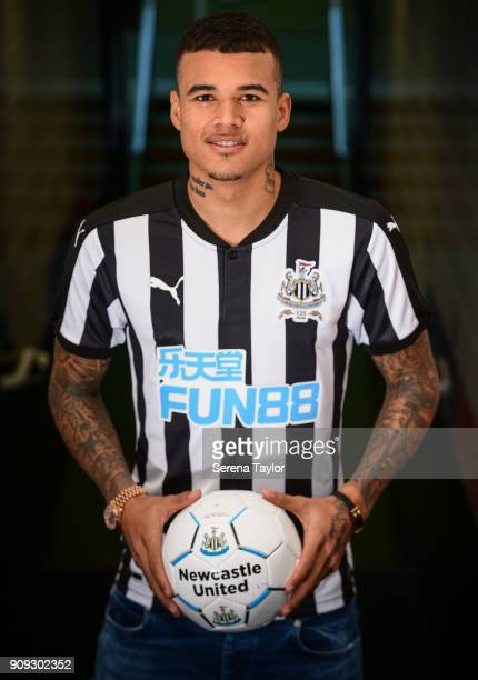 Kenedy poses for photographs in the tunnel at StJames' Park on January 23 in Newcastle England