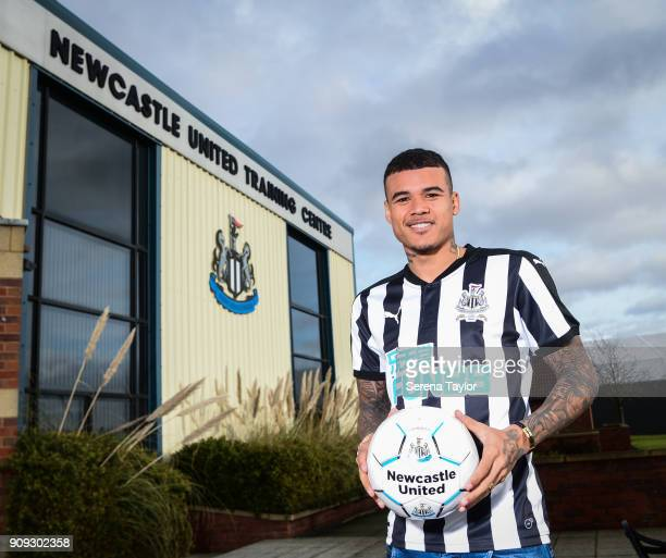 Kenedy poses for photos at the Newcastle United Training Centre on January 23 in Newcastle England