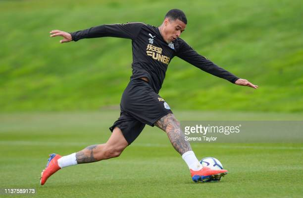Kenedy stretches to control the ball during the Newcastle United Training Session at the Newcastle United Training Centre on March 22 2019 in...