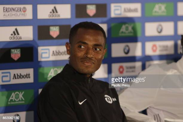 Kenenisa Bekele is pictured at the press conference The three leading runners competing in the 44th BMW Berlin Marathon Eliud Kipchoge from Kenya...