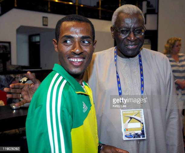 Kenenisa Bekele of Ethiopia and IAAF President Lamine Diack at 35th IAAF World Cross Country Championships press conference at the Whitesands Hotel...