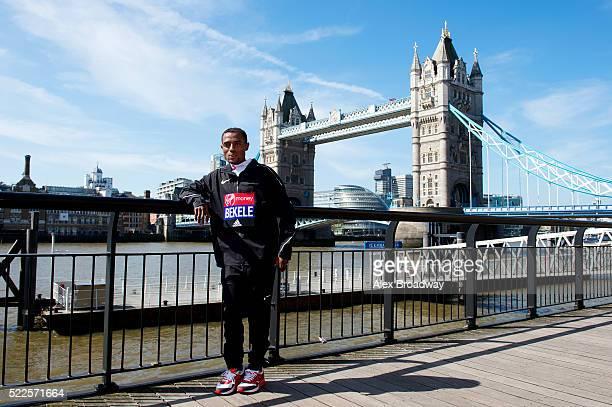 Kenenisa Bekele of Ethiopia attends the photocall for the elite men ahead of Sunday's Virgin Money London Marathon next to Tower Bridge on April 20...
