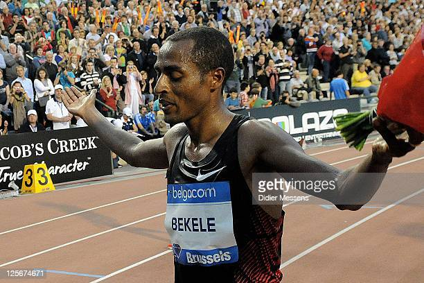 Kenenisa Bekele of Ethiopia celebrates after taking the victory in the Mens 10000m during the IAAF Golden League Memorial Van Damme meet at the King...