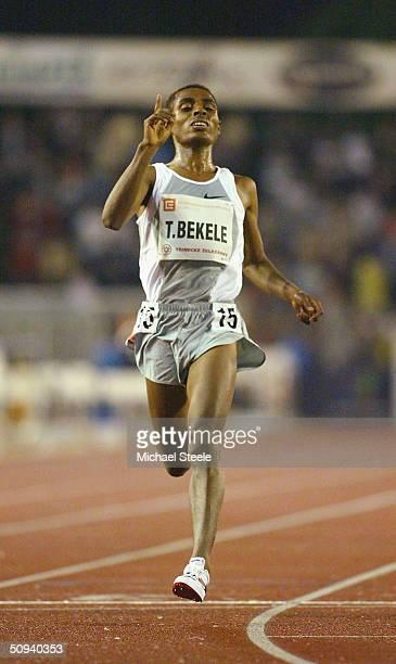 Kenenisa Bekele of Ethiopia celebrates breaking the 10000m world record at the IAAF Golden Spike meet in Ostrava Czech Republic
