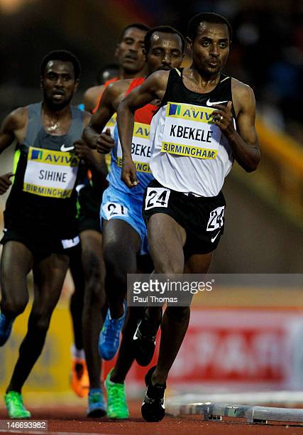 Kenenisa Bekele of Ethiopia competes in the Men's 10000 metres final during day one of the Aviva 2012 UK Olympic Trials and Championship at Alexander...