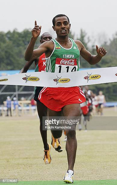 Kenenisa Bekele of Ethiopia crosses the finish line to win the Men's Short Race at the 34th IAAF World Cross Country Championship on April 1 2006 in...