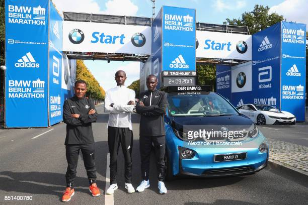 Kenenisa Bekele of Ethiopia Eliud Kipchoge of Kenia and Wilson Kipsang of Kenya pose at the starting arena for the BMW Berlin Marathon 2017 on...