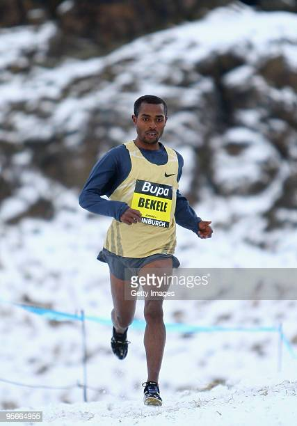 Kenenisa Bekele of Ethiopia in action in the 9km race during the BUPA Great Winter Run and Edinburgh Cross Country at Holyrood Park on January 9 2010...