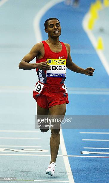 Kenenisa Bekele of Ethiopia in action on his way to breaking the world 5000m record during the Norwich Union Grand Prix at the Birmingham National...