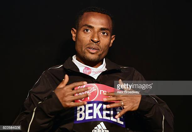 Kenenisa Bekele of Ethiopia speaks during a press conference ahead of the Virgin Money London Marathon at The Tower Hotel on April 20 2016 in London...