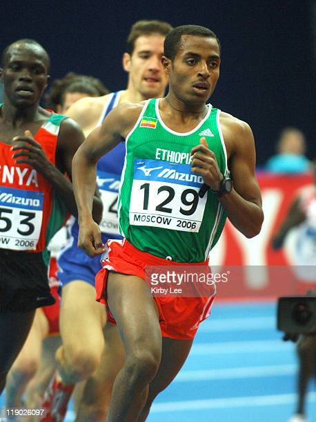 Kenenisa Bekele of Ethiopia wins men's 3000meter heat in 75485 in the IAAF World Indoor Championships in Athletics at the Olympiysky Sports Complex...