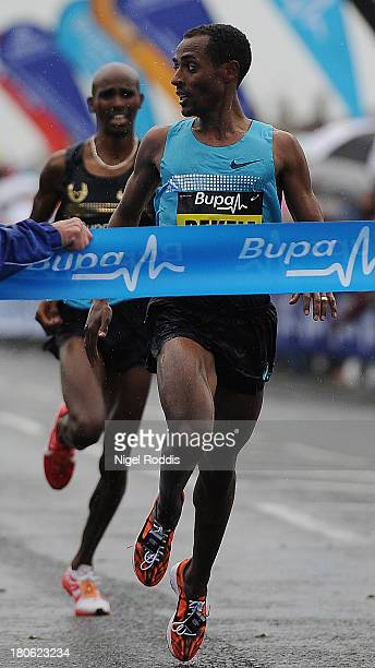 Kenenisa Bekele of Ethiopia wins the Great North Run from Mo Farah on September 15 2013 in Gateshead England