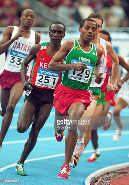 Kenenisa Bekele of Ethiopia won the 3000 meters in 73932 in the IAAF World Indoor Championships in Athletics at the Olympiysky Sports Complex in...