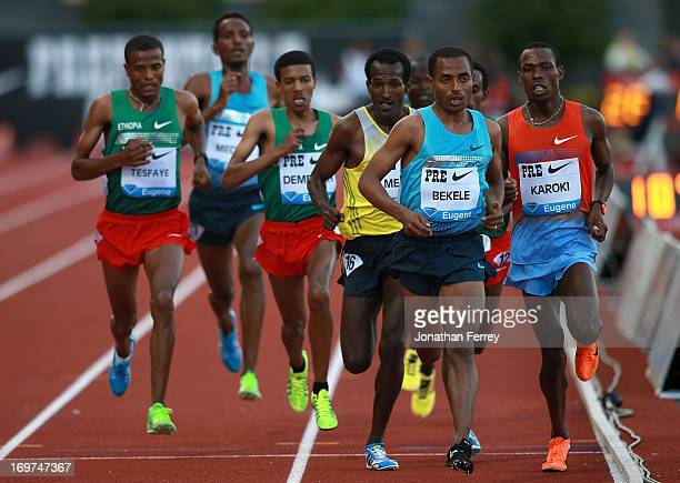 Kenenisa Bekele of Kenya leads a pack during the Men's 10000m during day 1 of the IAAF Diamond League Prefontaine Classic on May 31 2013 at the...