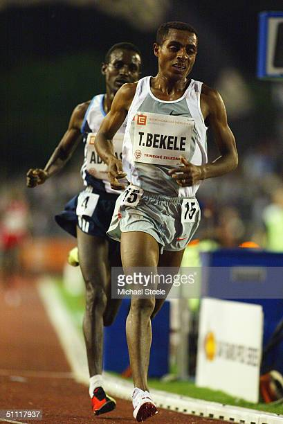 Kenenisa Berkele of Ethiopia on his way to a new world record time during the Men's 10000 metres race at the IAAF Golden Spike meet in Ostrava Czech...