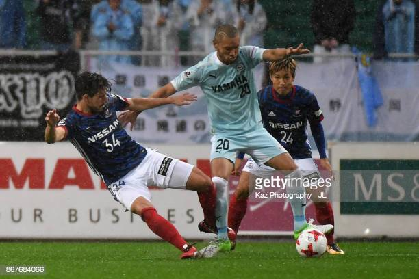 Kengo Kawamata of Jubilo Iwata and Milos Degenek of Yokohama FMarinos compete for the ball during the JLeague J1 match between Jubilo Iwata and...