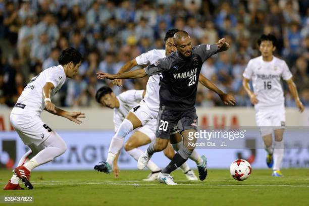 Kengo Kawamata of Jubilo Iwata controls the ball under pressure of Vissel Kobe defense during the JLeague J1 match between Jubilo Iwata and Vissel...