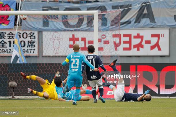 Kengo Kawamata of Jubilo Iwata scores his side's second goal during the J.League J1 match between Sagan Tosu and Jubilo Iwata at Best Amenity Stadium...