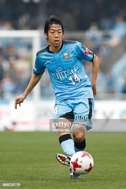 Kengo Nakamura controls the ball during the JLeague J1 match between Kawasaki Frontale and Ventforet Kofu at Todoroki Stadium on April 8 2017 in...
