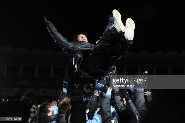 Kengo Nakamura is tossed into the air during the Kawasaki Frontale Kengo Nakamura Retirement and J1 Champions Celebration Ceremony at the Todoroki...