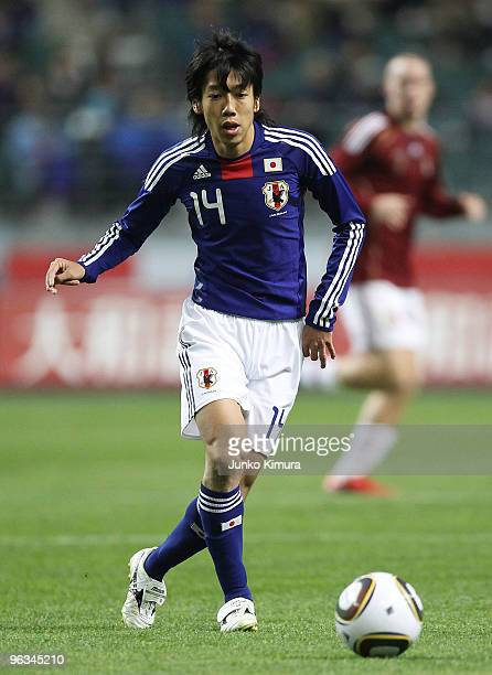 Kengo Nakamura of Japan in action during Kirin Challenge Cup Soccer match between Japan and Venezuela at Kyushu Sekiyu Dome on February 2 2010 in...