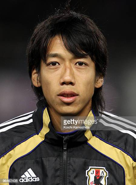 Kengo Nakamura of Japan looks on prior to playing the East Asian Football Championship 2010 match between Japan and China at Ajinomoto Stadium on...