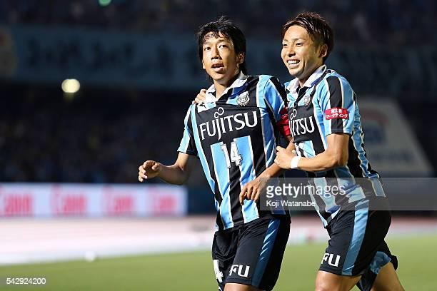 Kengo Nakamura of Kawasaki Frontale celebrates scoring his team's second goal with his team mates during the JLeague match between Kawasaki Frontale...