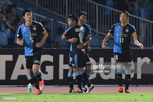 Kengo Nakamura of Kawasaki Frontale celebrates the second goal during the JLeague J1 match between Kawasaki Frontale and Consadole Sapporo at...