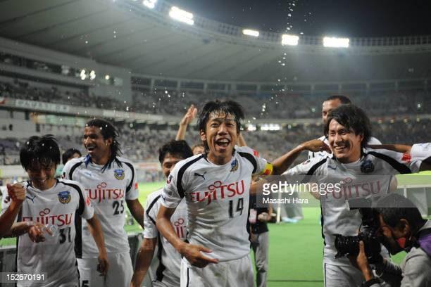 Kengo Nakamura of Kawasaki Frontale celebrates the win after the JLeague match between FC Tokyo and Kawasaki Frontale at Ajinomoto Stadium on...