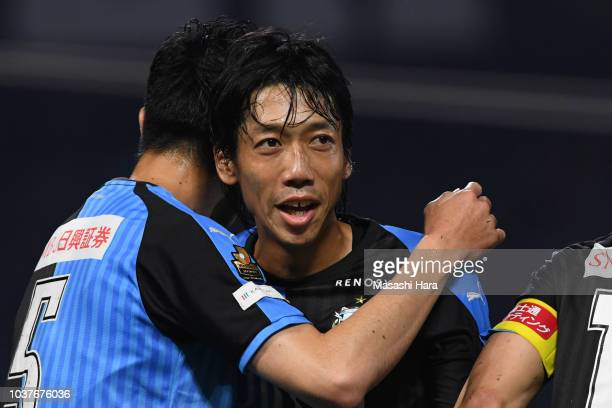 Kengo Nakamura of Kawasaki Frontale celebrates their third goal during the JLeague J1 match between Kawasaki Frontale and Nagoya Grampus at Todoroki...