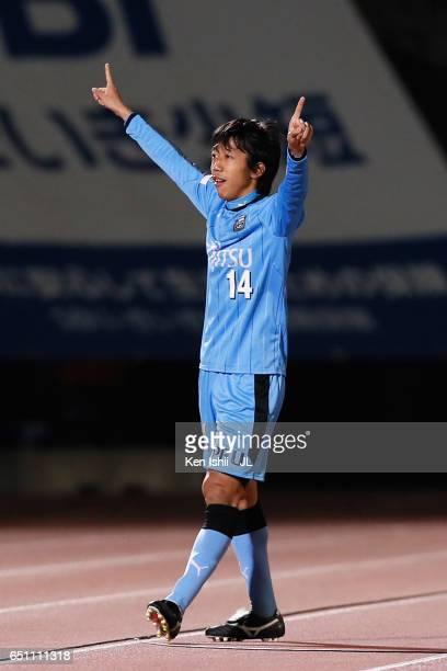 Kengo Nakamura of Kawasaki Frontale cleebrates scoring his side's second goal during the JLeague J1 match between Kawasaki Frontale and Kashiwa...