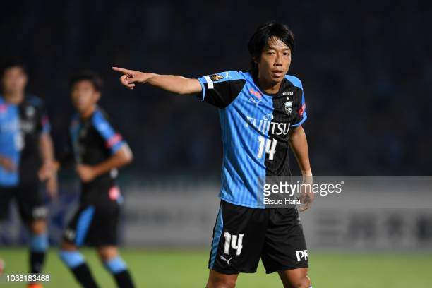 Kengo Nakamura of Kawasaki Frontale gestures during the JLeague J1 match between Kawasaki Frontale and Nagoya Grampus at Todoroki Stadium on...