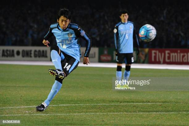 Kengo Nakamura of Kawasaki Frontale in action during the AFC Champions League Group G match between Kawasaki Frontale and Suwon Samsung Bluewings at...